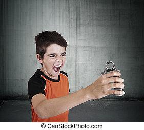 Children and sport - child doing gymnastics sport jersey,...