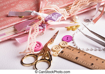 making postcard - making scrapbooking album with rings and...