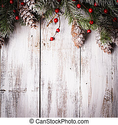 Holiday background - White shabby Christmas border with snow...