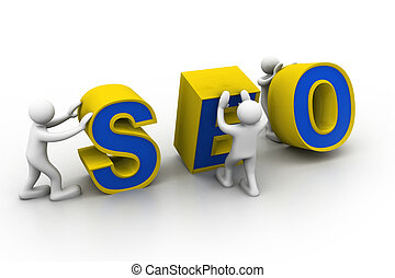 """3d people and word """"seo""""."""