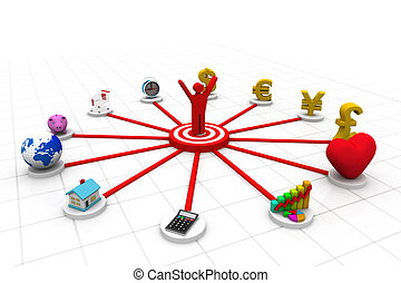3d business person with business icons;