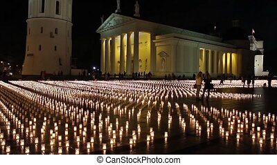 candles on the cathedral square, Vilnius, Lithuania