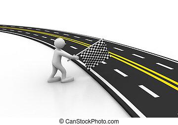 3d asphalted road
