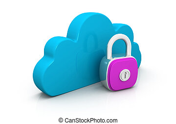 Cloud with key on white background