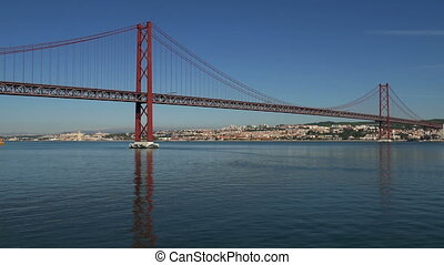 View on the 25 de Abril Bridge in Lisbon, Portugal.