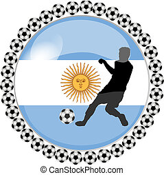 soccer button argentina - illustration of a soccer button...