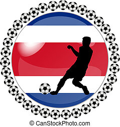 soccer button costa rica - illustration of a soccer button...