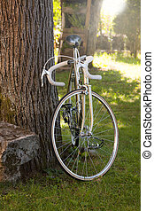 bicycle - old bike in the foreground outdoors, vintage