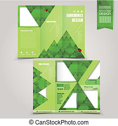 green template for ecology concept brochure with mountains...