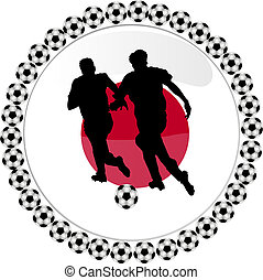 soccer button japan - illustration of a soccer button japan