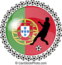 soccer button portugal - illustration of a soccer button...
