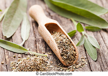 Dry sage in wooden scoop and green twigs