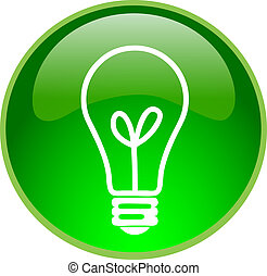 green bulb button - illustration of a green bulb button