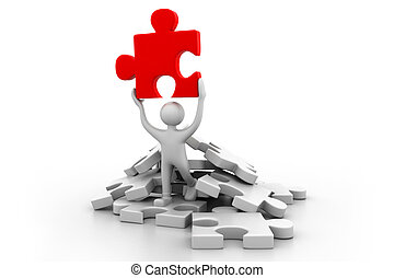Man holding the puzzle.(business success  concept)