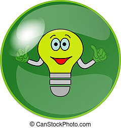 button with green bulb - illustration of a button with green...