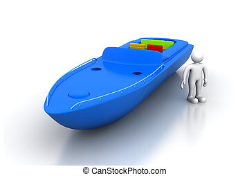 3d man with modern boat