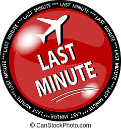 red last minute button - illustration of a red last minute...