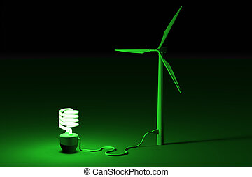 Wind energi concept - energy saving bulb connected to a wind...