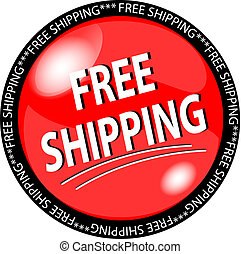 red free shipping button - illustration of a red free...