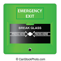 Emergency Exit - A 'break glass' femergency exit button over...