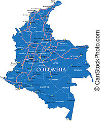 Colombia map - Highly detailed vector map of Colombia with...