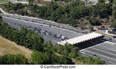Top View on Collection Point for the Payment Toll road near...