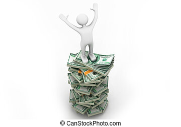 man standing on a stack of money