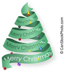 Looped ribbon Christmas tree with decorations