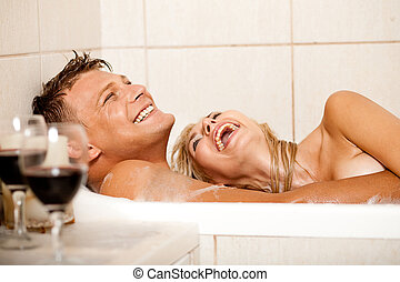 Happy couple in bath - Happy couple bathing