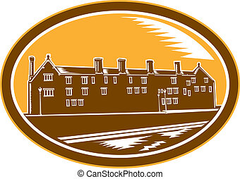 Old Building Cambridge Woodcut Retro - Illustration of an...