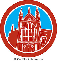 Winchester Cathedral Woodcut Retro - Illustration of the...