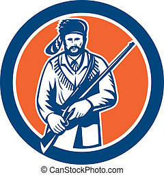 Davy Crockett American Frontiersman - Illustration of Davy...