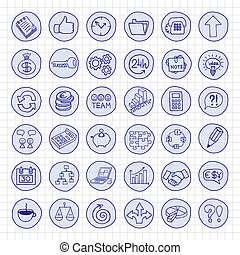 Hand drawn business buttons set with arrows, diagrams,...