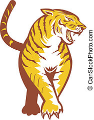 Tiger Prowling Retro - Illustration of an angry tiger...