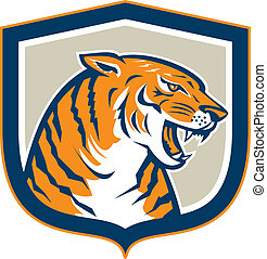 Angry Tiger Head Sitting Growling Shield Retro -...