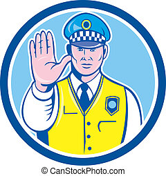Traffic Policeman Hand Stop Sign Circle Cartoon -...