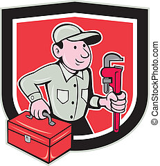 Plumber Toolbox Monkey Wrench Shield Cartoon - Illustration...