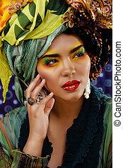 belleza, brillante, mujer, creativo, marca, Arriba, Muchos,...