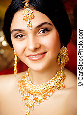 beauty sweet indian girl in sari smiling close up with...
