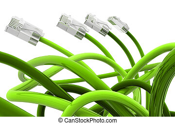 Green color network cable