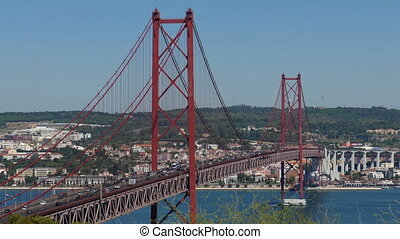 Top View on the 25 de Abril Bridge in Lisbon, Portugal.