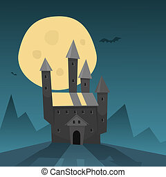 Old Castle - Cartoon illustration of the old castle on the...