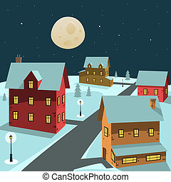 Winter Village - Cartoon vector illustration of the winter...