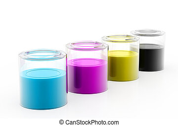 CMYK paint cans and ink