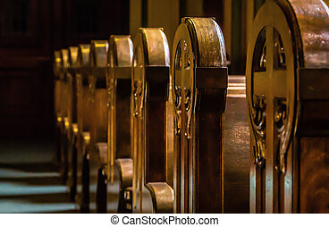 Church Pews - A Row of Wooden Church Pews