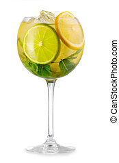 Alcohol cocktail with fresh mint and fruits solated
