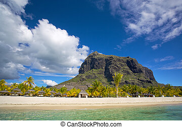 Mauritius white beach - White sand beach near Le Morne...