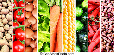 Vegetable collage - Group of various fresh vegetables -...