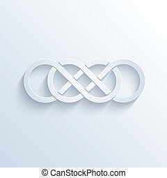 Double infinity sign with shadow - Vector illustration of...