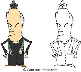 Priest - Coloring page of a comic Catholic priest. Vector